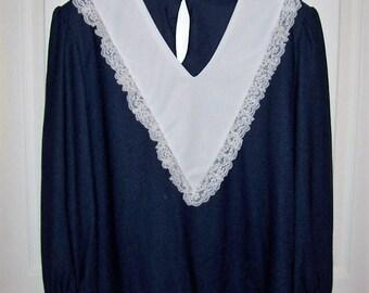 Vintage 1970s Ladies Navy Blouse w/ White Collar & Lace Trim Medium Only 6 USD