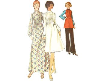 1970s Pin Tuck Dress in 2 Lengths or Tunic and Pants Butterick 6336 Size 10 Bust 32.5 High Raised Collar Vintage Sewing Pattern