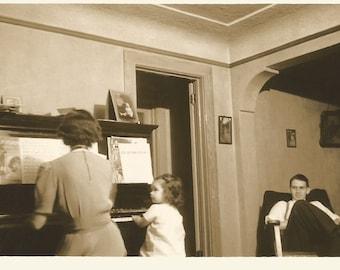 "Vintage Snapshot ""Music Lesson"" Cute Little Girl Upright Piano Sheet Music 1939 Found Original Photo"