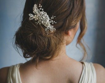 Beading floral comb, crystals and pearls, style 240