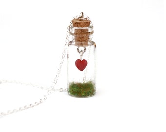 Heart Jar Necklace - Legend of Zelda Miniature Terrarium Bottle - Necklace or Keychain - Tiny Jar with Grass, Hanging Heart, 16 inch chain