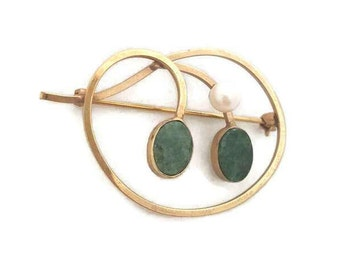 Jade Jewelry Van Dell Brooch 12K G.F. Van Dell Jewelry Pearl Pin Jade Pin Wedding Jewelry Antique Brooches Vintage Pearl Jewelry
