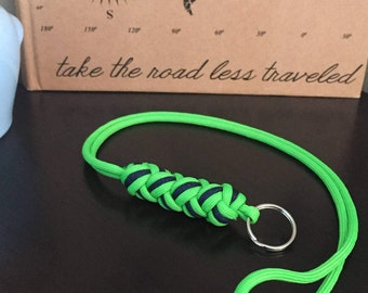 Turk's Head Paracord Lanyard: Neon Green and Navy