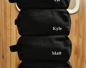 Set of 12 Mens Canvas Toiletry Bags Black or Brown Groom Groomsmen Gifts