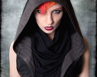 Nyx Hoodie Vest with Gunmetal Hardware by Loose Lemur Clothing