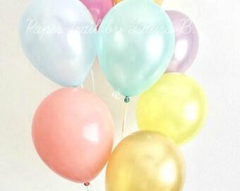 Rainbow Pastel Balloon Bouquet.  Unicorn Party Decorations.  Pearl Latex Balloons.  7CT