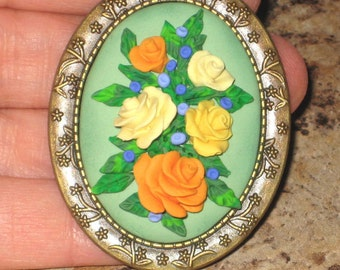Victorian Roses Vintage Inspired Antique Bronze Brooch Lapel Pin