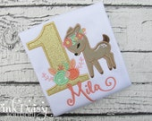 Woodland Birthday Shirt - Fawn - Deer - Floral - Gold - Flowers - Roses - Peach - Coral - Woodland Animals - First Birthday Applique Shirt