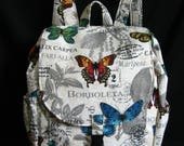Large Backpack- Butterfly theme canvas