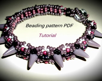 Bracelet with spikes. Beading Tutorial. Beading pattern PDF. Instant download.