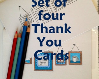 Gallery Wall Thank You Coloring Cards, 5x7 Set of 4