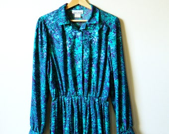 Deep Purple and Teal Shimmery Vintage Dress / Vintage 70s Day Dress with Pleated Skirt / Shimmery Floral Midi Dress in Jewel Tones