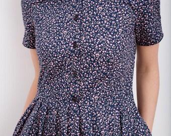 Floral Print Dress - Pleated Dress - Navy Blue Floral Women Dress - Flower Print Dress - Handmade by OFFON