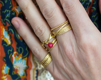 Russian Wedding Ring, Thin Gold Rings, Gold Stacking Rings, Rolling Rings, Dainty Rings, Hammered Rings, Stacking Ring, Simple Rings, Boho