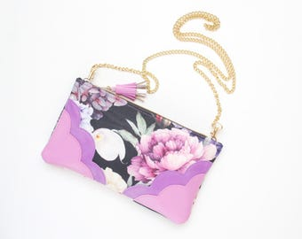 Flower shoulder purse-natural leather bag-statement crossbody-black white purple pink-bridal purse-bridesmaids purse-Ready to Ship/MIMI 10