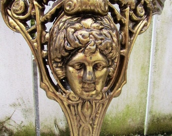 Antique Cast Brass Table Legs With Mythology Heads In Relief