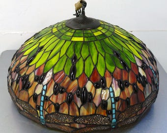 Exquisite Large Tiffany Style Dragonfly Chandelier Lamp Shade