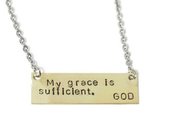 Grace is Sufficient - Necklace - Brass or Copper - Christian Jewelry