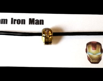 IRON MAN themed friendship bracelet with waxed cotton cord and its own message card OR Silver Plated Necklace and organza bag