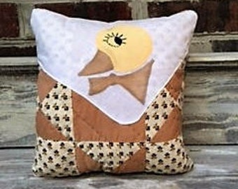 Daring Vintage Duck Pillow On Quilt Piece
