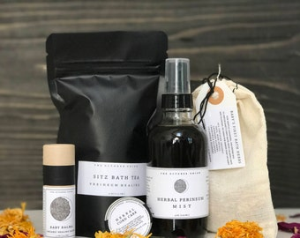 MAMA + BABY - Postpartum Care Kit. Organic. Sitz Bath. Perineum Spray. Baby Balm. Cord Care. Baby's First Bath Herbs.