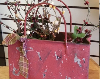 Free Shipping!! Primitive Wedding Centerpiece.Purse with Berry Branches and Cloth Ribbon. Rustic Farm House Decor