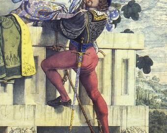 Antique ROMEO and JULIET Vintage Illustration. Digital Romeo Juliet DOWNLOAD. Digital Shakespeare Illustration