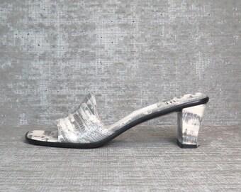 Vtg 90s STUART WEITZMAN Snakeskin Leather Slip On Sandals 8