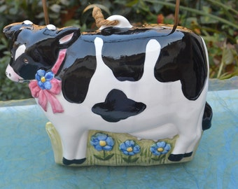 Cow Mold - Lillian Vernon, Hand Painted, Blue Flowers - Vintage - Fabulous!