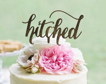 Rustic hitched Cake Topper - Rustic Country Chic Wedding Cake Topper - Wedding Cake Toppers