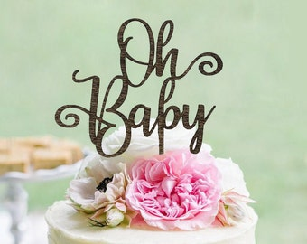 "Rustic ""Oh Baby"" Cake Topper - Cake Toppers - Rustic Country Chic Baby Shower - Baby Cake Topper - Cake Topper"