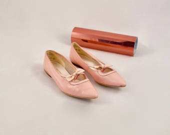 blush pointed toe flats / 80s flats / pink leather flats / bow flats / pastel pink / ballet flats / cut out flats / leather skimmers