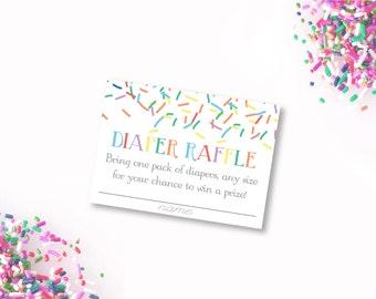 Baby Sprinkle Diaper Raffle, printable Diaper Raffle Ticket, Sprinkle Baby Shower, sprinkles diaper raffle card, diaper raffle insert