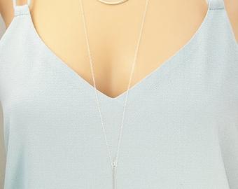 Silver layering necklaces - Delicate necklace set in silver, gold. - Gold bar necklace - Disc necklace