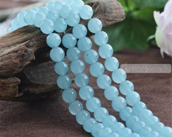 Grade A Natural Sky Blue Chalcedony Beads 6mm 8mm 10mm 12mm Smooth Polished Round 15 Inch Strand CY17 Wholesale Beads