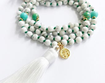 Mala Beads, Mala Necklace, Knotted Mala Beads, 108 Mala Beads, Tree of Life, Tassel Necklace, Yoga Necklace, Prayer Beads, White Mala, MKHW