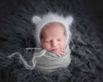 Bear Bonnet - Gray Angora Bear Bonnet - Grey Photo Props - Teddy Bear - Newborn Photo Prop - Newborn Boy Photo Prop - Photography Props