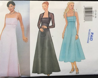 Butterick Wedding,Bridesmaid, Prom, Formal Dress, w High Waist,Spaghetti Straps, Fiat and Flare in 2 Lengths w Shrug Size 12-16 Pattern 6534