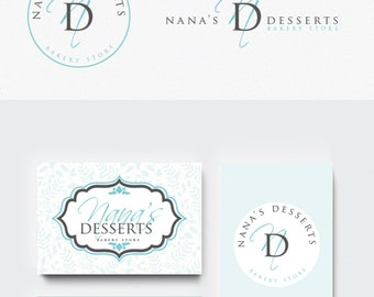 Logo + businesscard package Bakery Store Sticker 2 -  Simple Elegant Sticker design - bakery branding kit, , circle logo and for sign