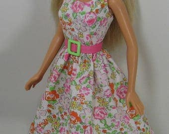 Barbie Doll Clothes - Pastel Pink and White Floral Print Dress for the 1999 Barbie Body - also fits Original Fashionista Barbies - 275
