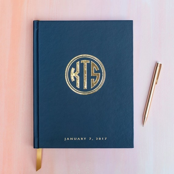 Wedding Guest Book with Real Gold Foil guestbook custom monogram album personalized instant photo wedding guestbook sign in hardcover navy