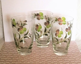 Free Shipping Libbey Glassware Hand Painted Green and Brown Flowers Clover and Leaves Vintage 3 Drinkware Glass Set