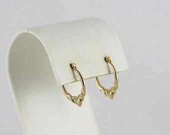 10K Yellow Gold Heart Hoop Earrings
