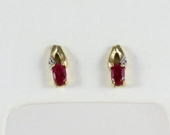 Ruby 10k Yellow Gold Ruby and Diamond Stud Post Earrings