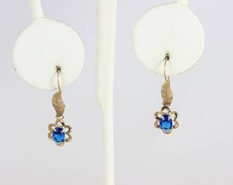 10k Yellow Gold Antique Blue Glass Earrings Dangle Drop Earrings