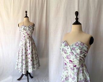 1950s novelty print cotton halter dress