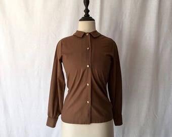 1960s brown cotton blend blouse