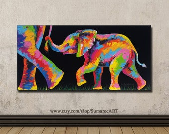 40 x 80 cm, Colorful elephant paintings on canvas , wall decor paintings