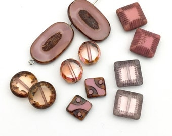 12 Picasso Czech glass beads mix,10mm to 26mm #PV 101