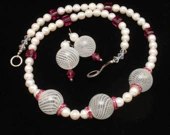 Hot Pink Imitation Pearls and Striped Balls Necklace and Earrings Set